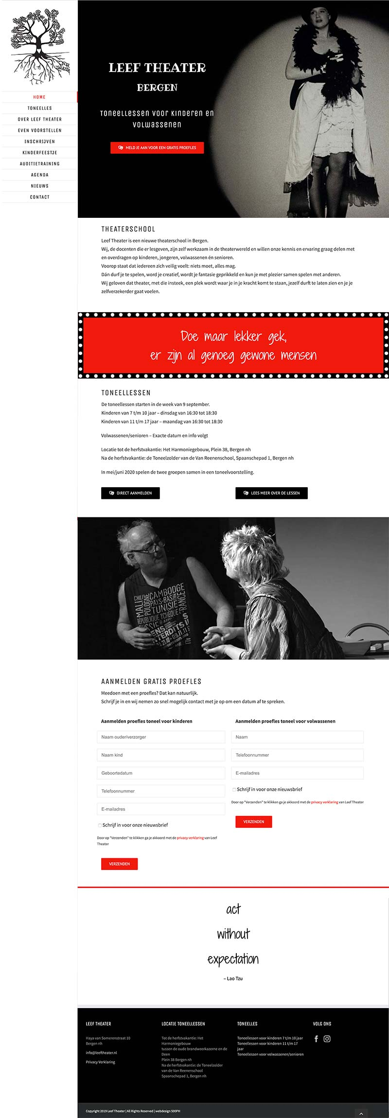 Leef Theater Bergen - website