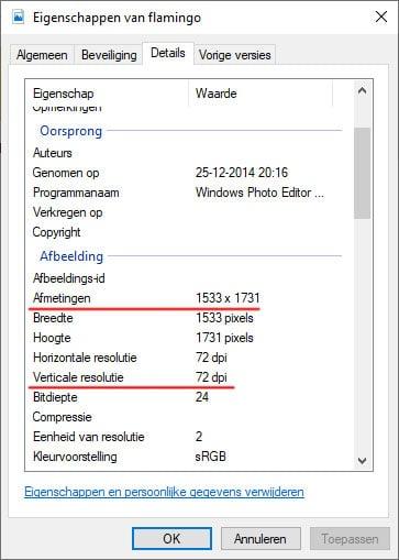 Informatie van de afmetingen van afbeeldingen in Windows