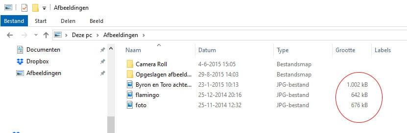 Informatie van de grootte van afbeeldingen in Windows